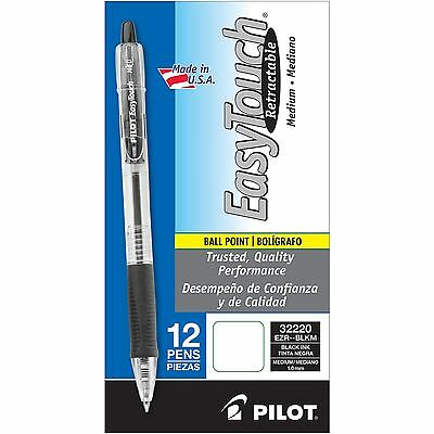 Pilot EasyTouch Retractable Ballpoint Pen 1.0mm Medium Point Black 12ct