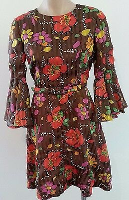 Vintage 1960s GOLD PURPLE RED BROWN Floral Print Mod Bell Sleeve Dress size 12