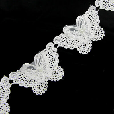 2 Yard Butterfly Pearl Lace Edge Trim Wedding Dress Ribbon Applique Sewing DIY