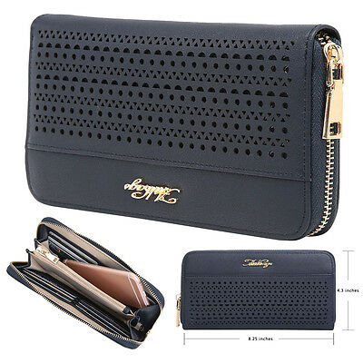 Aitbags Hollow Out Pattern Leather Wallet for Lady Clutch Long Purse Card Holder