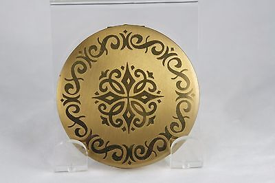 Vtg 50s Stratton Compact Round Gold Tone With Medallion Scroll Design 3 inch