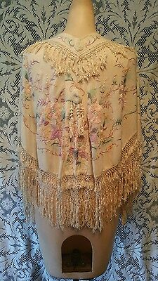 Antique Silk Pastel Flower Embroidered Piano Shawl Cape Finge