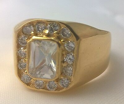 G-Filled Men's 18ct yellow gold simulated diamond ring glistening Gents bling 11