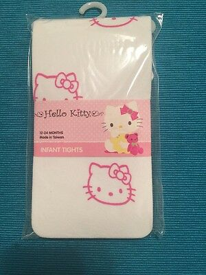 Hello Kitty White And Pink  Infant Tights Size 12-24 Months