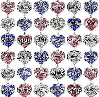 Fashion Crystal Rhinestone Heart Pendant Silver Plated Chain Necklace Jewelry