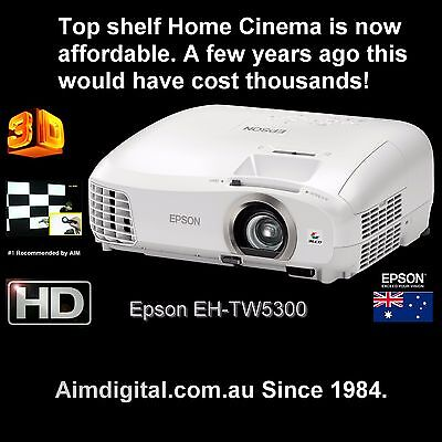 Epson EH-TW5300 Full HD Home Cinema Gaming Projector 1080p NEW 3D 2yr Warranty