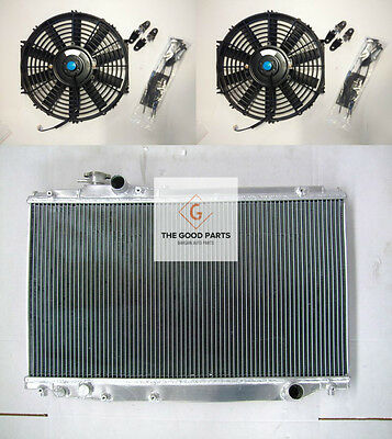 ALUMINUM RADIATOR +FANS FOR TOYOTA SUPRA MK4 JZA80 2JZ-GTE Twin Turbo MT MANUAL