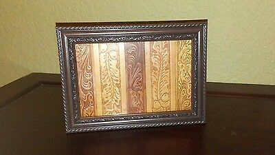 Vintage Framed Western Rustic Hand Tooled Leather Belt Sections Art Decor 4x6