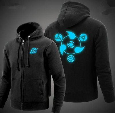 NEW Anime NARUTO Akatsuki Jacket Casual Sweatshirt Luminous Hoodie Coat S-XXL