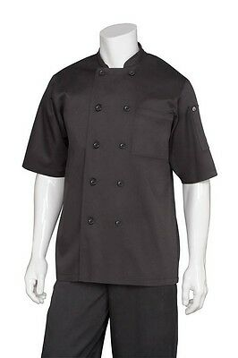 ChefWorks Basic Chefs Jacket Black Short Sleeve Hotel Cafe Restaurant