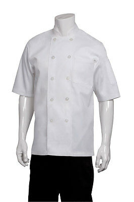 ChefWorks Basic Chefs Jacket White Short Sleeve Restaurant Hotel Cafe