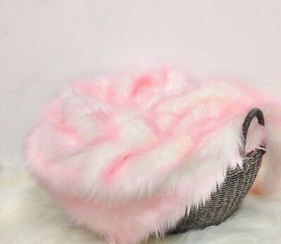 """Faux Fur Baby Frosted Pink newborn Photography Blanket props 18""""20"""" Inches"""