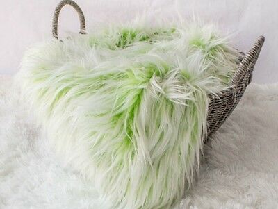 """Faux Fur Mongolian Frosted Green Newborn Photo Prop Blanket 18""""x20"""" Inches"""