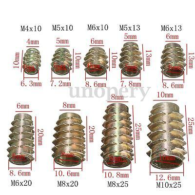 10 Hex Drive Screw In Threaded Insert Nuts Bushing For Wood Type E M4 M5 M6 M8