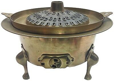 Vintage Korean Solid Brass Hot Pot Brazier Sin Sul Ro Steamer Bar-B-Q