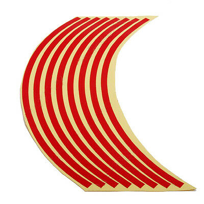 17' Motorcycle Car Wheel Rim Reflective Metallic Stripe Tape Decal Sticker Red