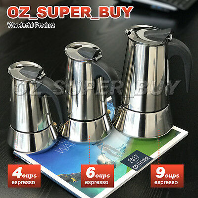 4Cup /6Cup / 9Cup Stainless Steel Stove Top Espresso Italian Coffee Maker Percol