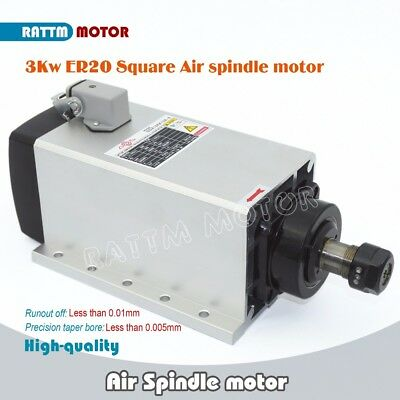 CNC Square 3kw High Quality Air cooled spindle motor ER20 runout-off 0.01mm 220V
