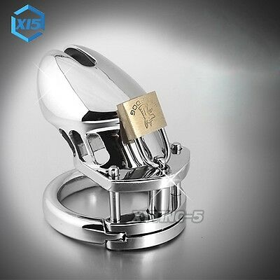 Male Chastity Stainless Steel Device Ring Bird Lock Curved Cage Device S/M/L