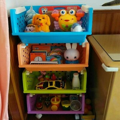 2 P Baskets Kids' Toys Storage Organizer with Wheels Can Move Everywhere Large