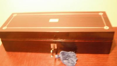 Beautiful Victorian Rosewood Glove Box with MOP and Pewter