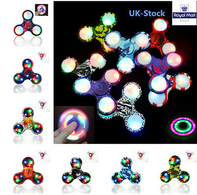LED Flashing Hand Spinner Finger Toys Light Up Fidget EDC Stress ADHD Gift UK