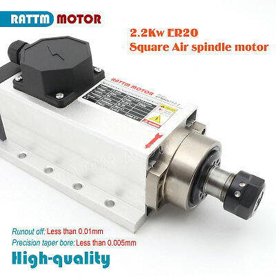 CNC Square 2.2kw Quality Air cooled spindle motor ER20 runout-off 0.01mm 220V 6A