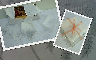 5 x Fine Antique Handkerchief Embroidered Appenzell Whitework Wedding Hanky Lace