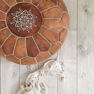 **Small Imperfection** Moroccan Leather Ottoman Pouffe Pouf Footstool In Tan