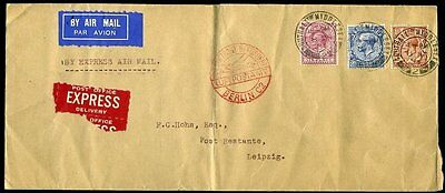 "1934 ""BY AIR MAIL EXPRESS"" KGV 10d Southall to Leipzig"
