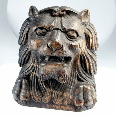 Renaissance Post Medieval Wood Treen Lion Sculpture Ornament Hand Carved Cat