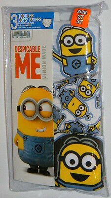 New Minions Despicable Me Made Blue Gray Toddler Boys Briefs Underwear Sz 2T 3T