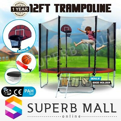NEW Round Trampoline 12ft FREE Basketball Set+Safety Net+Spring Pad Cover+Ladder