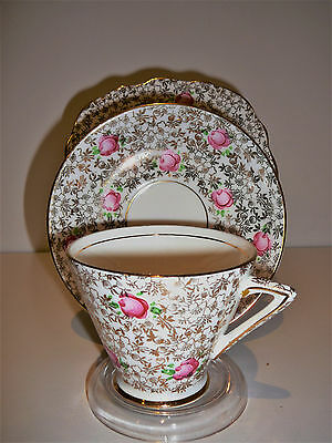 Vintage Phoenix China T.F. & S. Ltd England Trio Cup Saucer Plate Gold Pink Rose