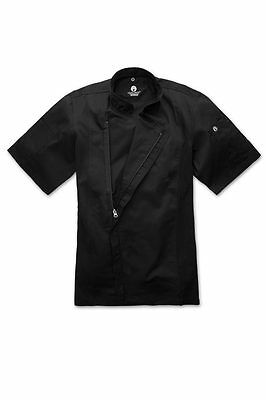 ChefWorks Mens Black Zipper Chefs Jacket Restaurant Hotel Cafe