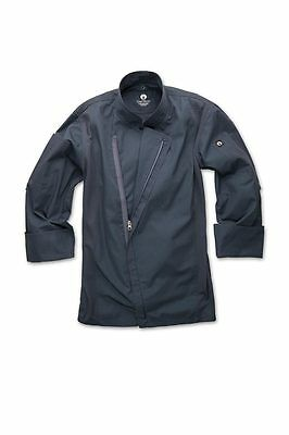 ChefWorks Mens Blue Zipper Chefs Jacket Restaurant Hotel Cafe