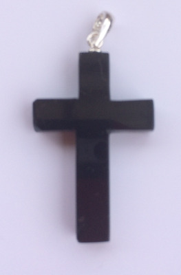 BLACK TOURMALINE CRYSTAL CROSS (Pendant) - Protection Against Negative Energy