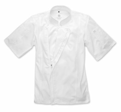 ChefWorks Mens White Zipper Chefs Jacket Restaurant Hotel Cafe