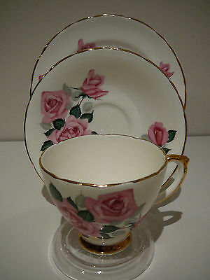 Vintage Delphine Bone China England Trio Cup Saucer Plate Pink Rose Bunch Pretty