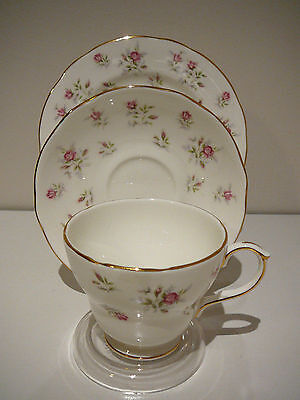 "Duchess Bone China England ""Marie"" Trio Cup Saucer Plate Dainty Pink Roses"