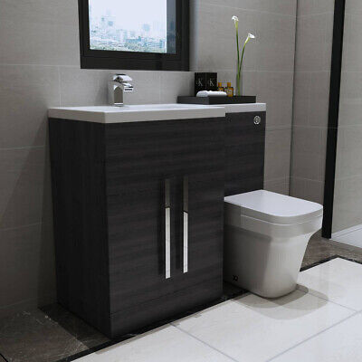 Grey LH Combination Bathroom Furniture Vanity Unit & Basin + Back To Wall Toilet