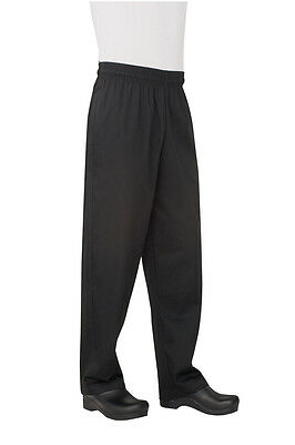 ChefWorks Mens Baggy Chefs Pants Black Restaurant Hotel Cafe