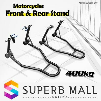 Motorcycle 400KG Stands Front & Rear Motorbike Lift Paddock Pair Heavy Duty