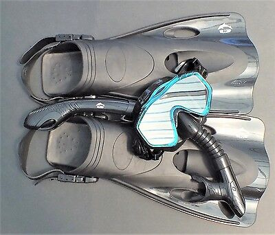 NEW WILCOMP Swimming/Snorkelling Set WIL-SS-33BA fins/mask/dry snorkel