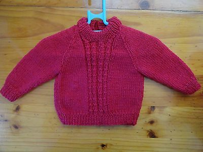 Baby Hand Knitted Jumper Unisex In Red... Chest 42 Cm