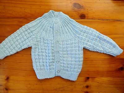 Baby Hand Knitted Cardigan  Boys In  Light Blue... 0-3 Months
