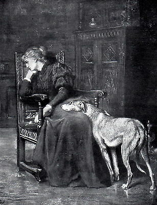 Print REGRETS c19th Victorian Lady Comforted by Scottish Deerhound Dog