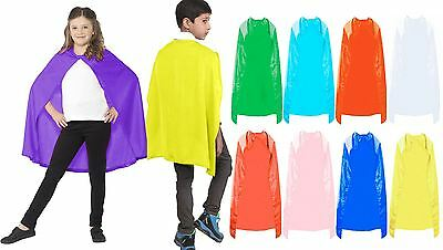 Kids Super Hero Cape Boys Girls Plain Comic Book Poncho Dress Costume Accessory