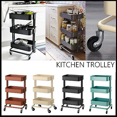 Ikea Kitchen Trolley Metal Wheels Storage Shelf Island Shelving Bench Bathroom