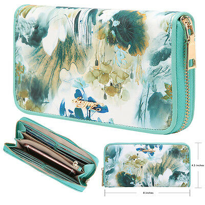 Aitbags Embroidery Print Leather Wallet for Women Clutch Purse Card Holder New